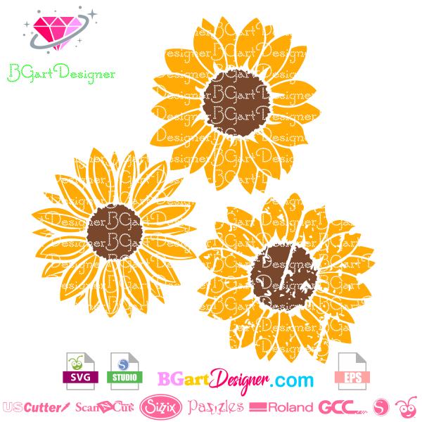 Grunge distressed Sunflower Svg Cricut cuttlebug, Make