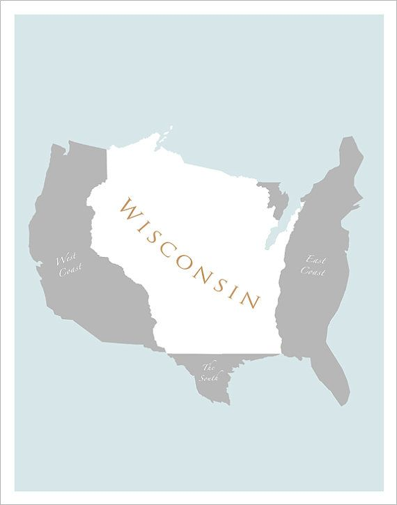 11x14 Map of US featuring Wisconsin print by delovelyArts, $19.50 ...