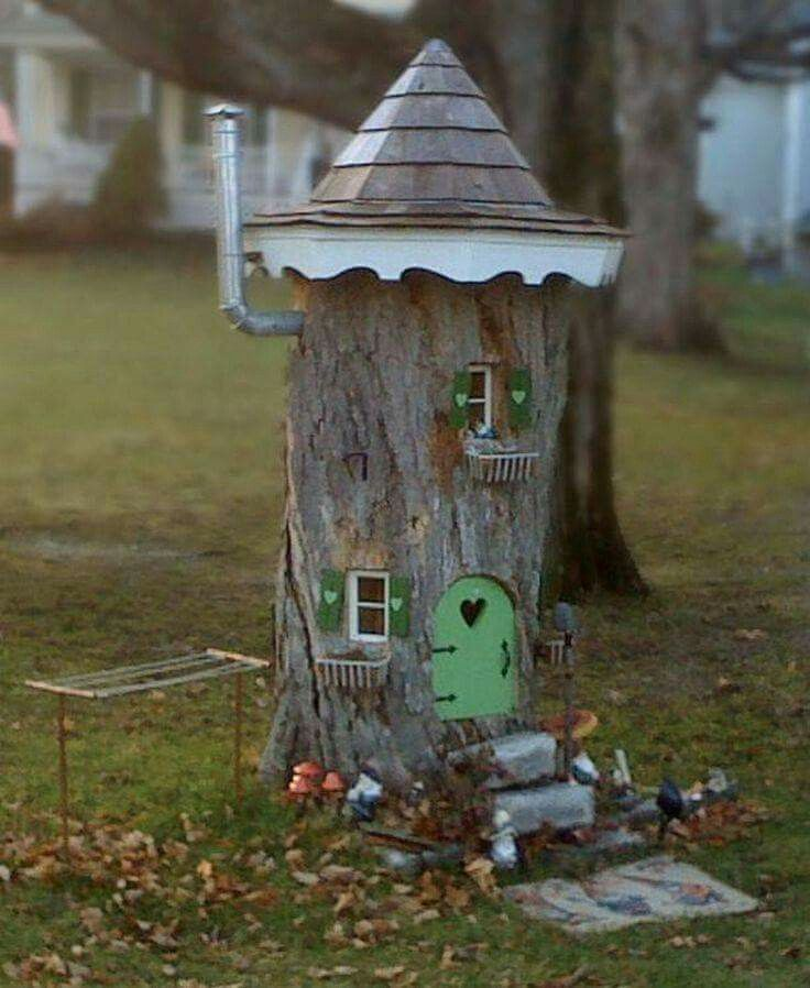tree stump fairy house love the clothesline and metal pipe chimney rh pinterest com
