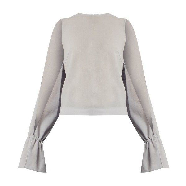 Osman Petra round-neck long-sleeved wool-crepe top ($494) ❤ liked on Polyvore featuring tops, round neck top, slit tops, osman, long tops and long white top