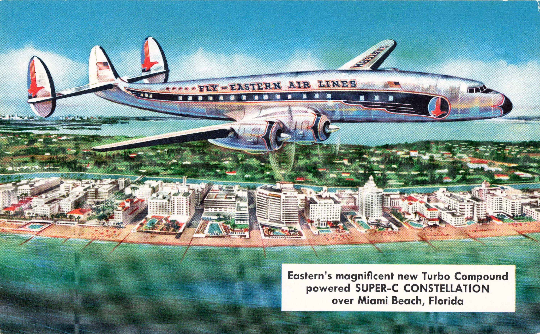 Postcard Eastern Air Lines SuperC Constellation