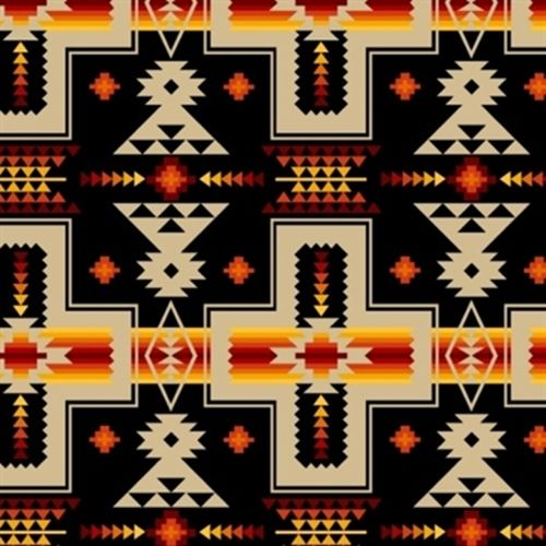 Tucson Southwest Tan Red Orange Aztec Design On Black Beautiful