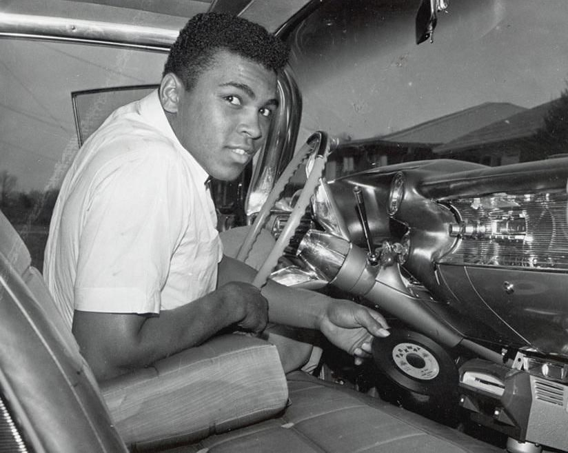 Muhammad Ali with an in car vinyl disc