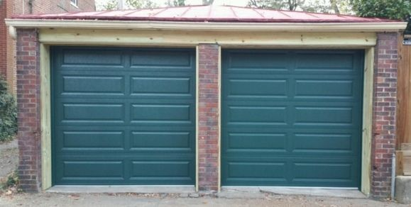 Two 8x7 9 Green Model 4283 Long Panel Garage Doors Installed By