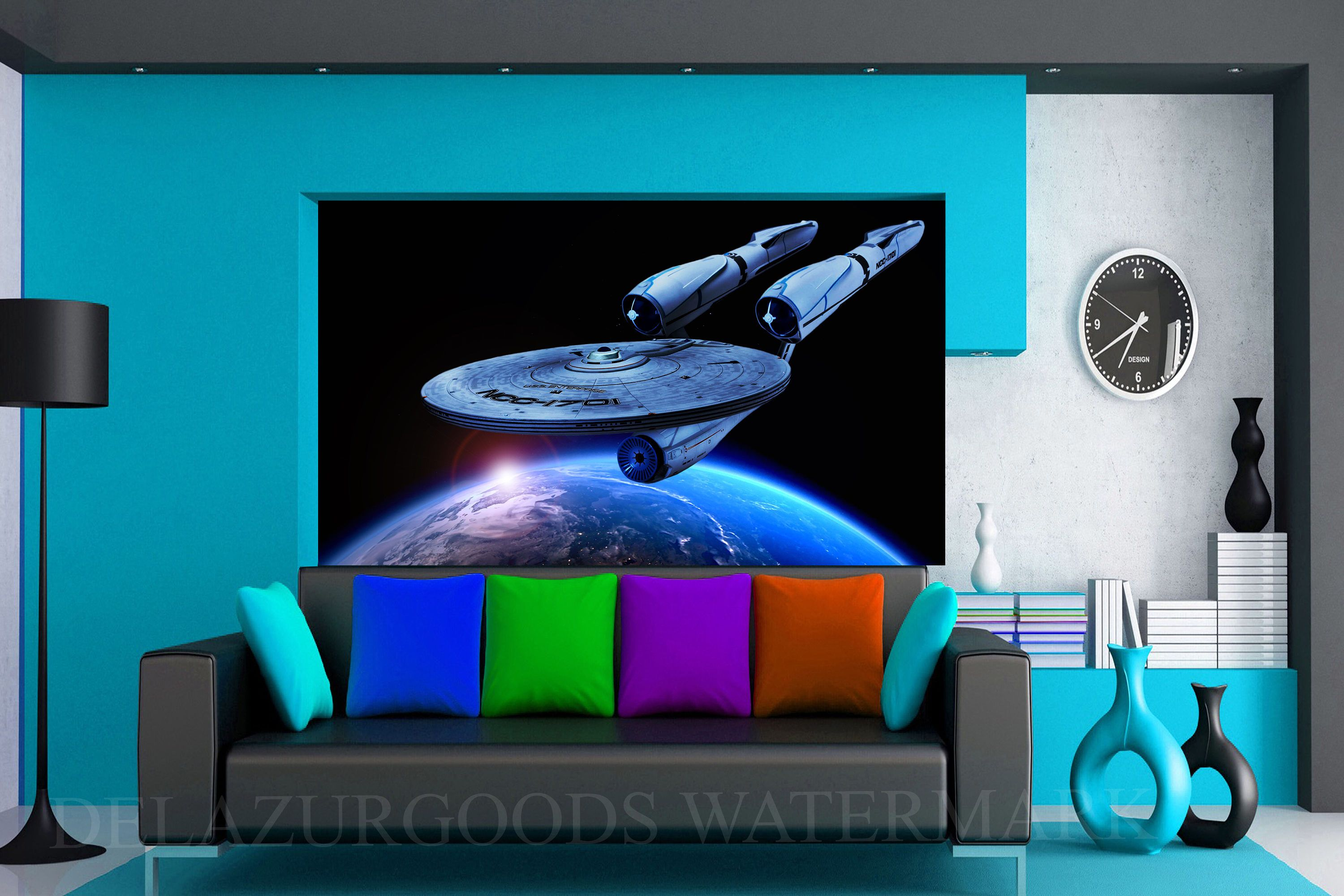 Starship U.S.S Enterprise Removable Wallpaper||Wall Decal||Peel u0026 Stick||. Starship EnterpriseStar TrekWall ... & Starship U.S.S Enterprise Removable Wallpaper||Wall Decal||Peel ...