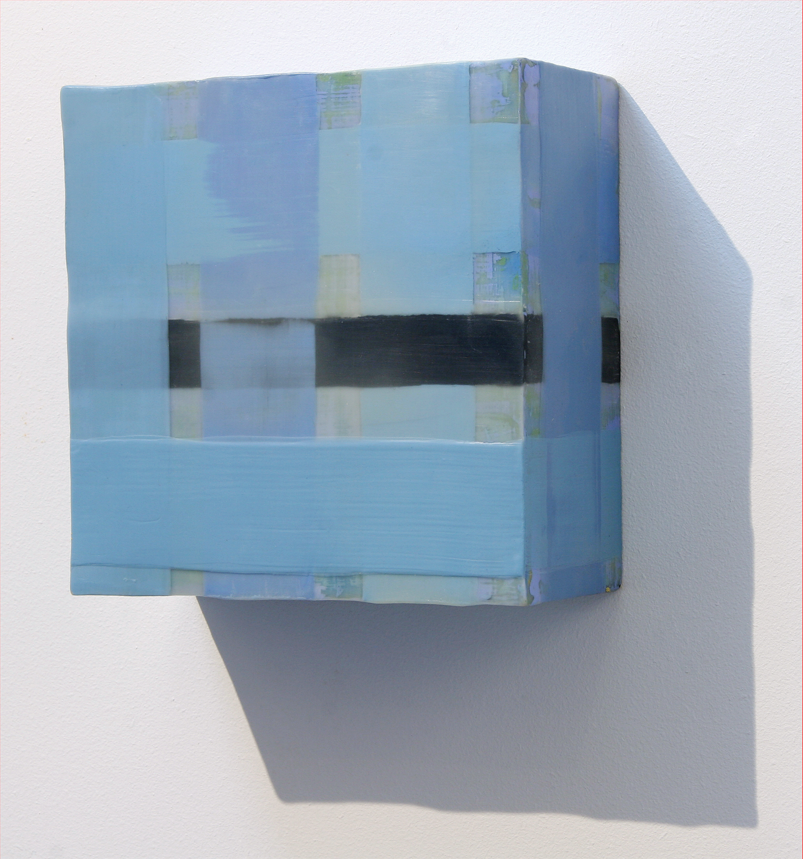 "BLUE BANDS, from Rhythm and Pattern installation, 8""x8""x3.5"", encaustic"