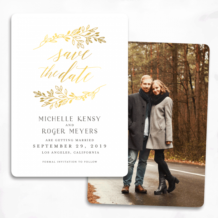 sample wording for save the date wedding cards%0A pretty gold foil save the date    Wedding InvitationsParty