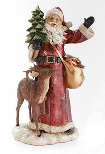 1675 Woodland Inspirations Santa Claus With Deer And Christmas Tree Figure Want Ad Christmas Collectibles Indoor Christmas Decorations Christmas Accessories
