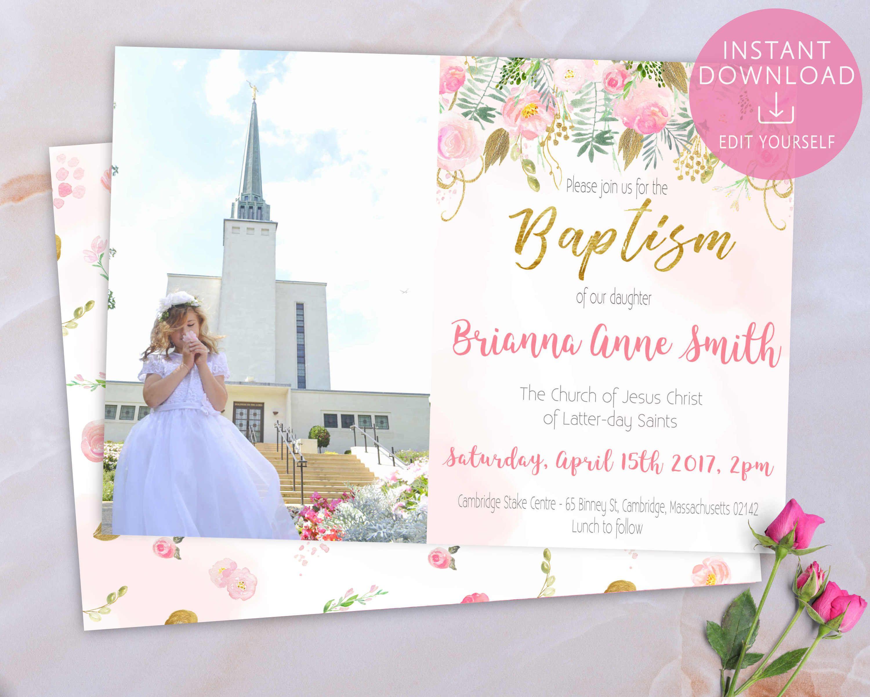 baptism invitation girl lds editable pdf floral pink gold blush