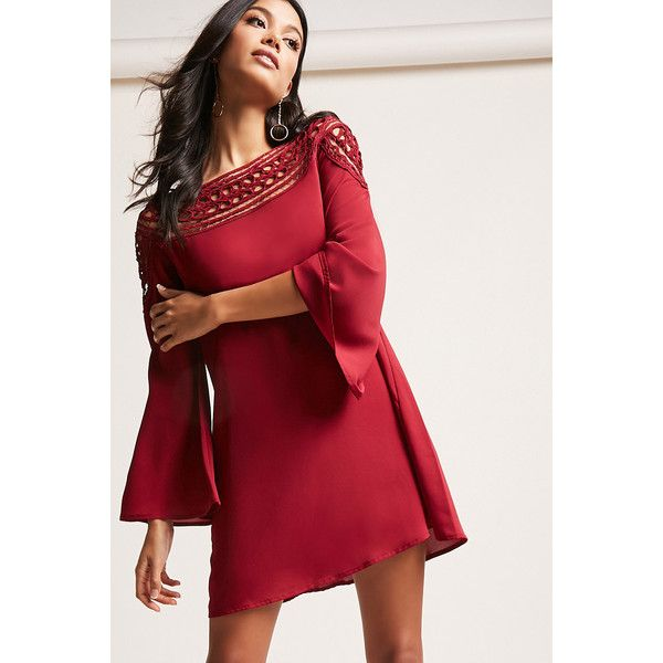 9e30012d6ddd0 Forever21 Ornate Cutout Shift Dress ($48) ❤ liked on Polyvore featuring  dresses, burgundy, short-sleeve shift dresses, forever 21 dresses,  see-through ...