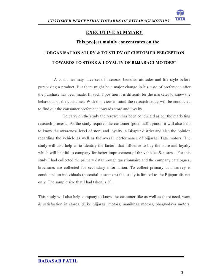 customer perception bijjaragi motors project report mba News to