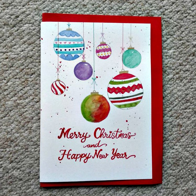Christmas. Christmas Card. Holiday Card. Hand Painted Cards ...