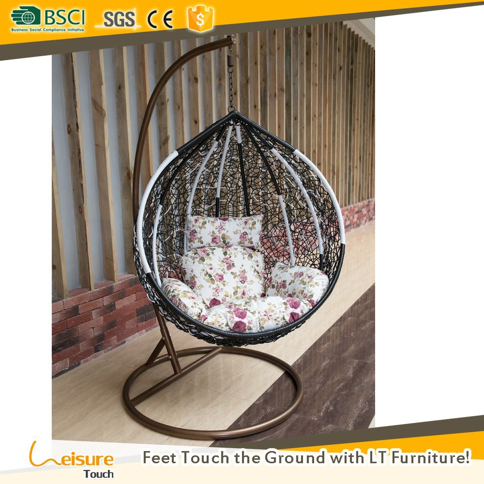 Best price black round rattan indoor swing chair and
