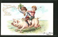 tolle AK Kinder mit Kleeblatt reiten zum neuen Jahr ein Schwein 1905