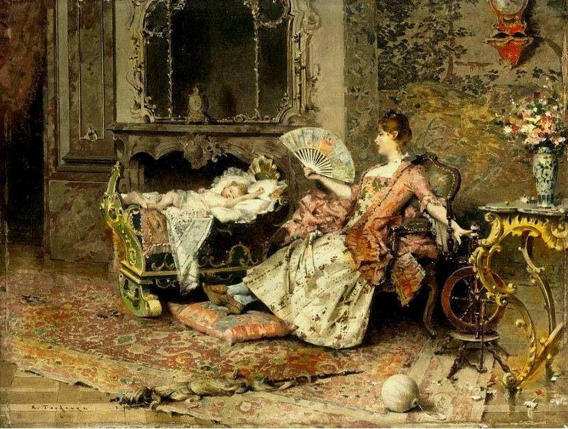 Edouard Toudouze (french - 19th century)_Watching The Baby