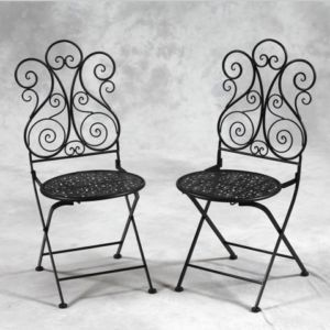 shabby chic antique black metal patio garden chair x 2 metal rh pinterest com