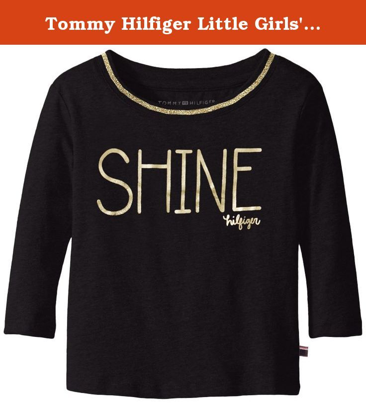 Tommy Hilfiger Little Girls' Toddler Long Sleeve Dollman Rib Neck Shine Tee Shirt, Black, 3T. Tommy girl long sleeve dolman rib neck shine tee.