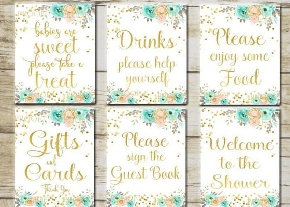 floral baby shower signs 6 printable table signs peach and mint rh pinterest it
