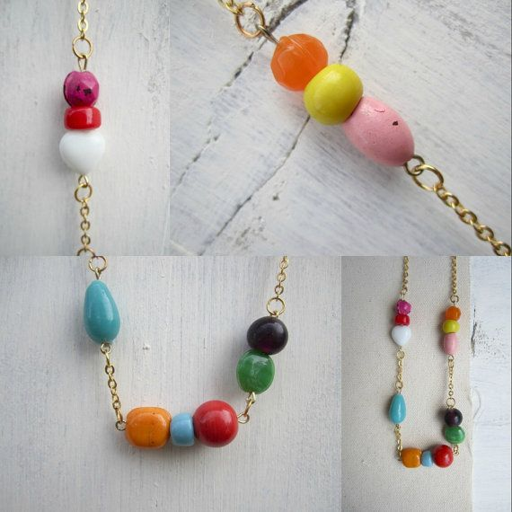 80's Inspired Necklace Rainbow Upcycled Glass by rooftopfibers, $28.00
