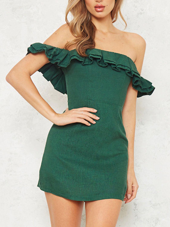 Green faux suede off shoulder frill trim mini dress prom dresses