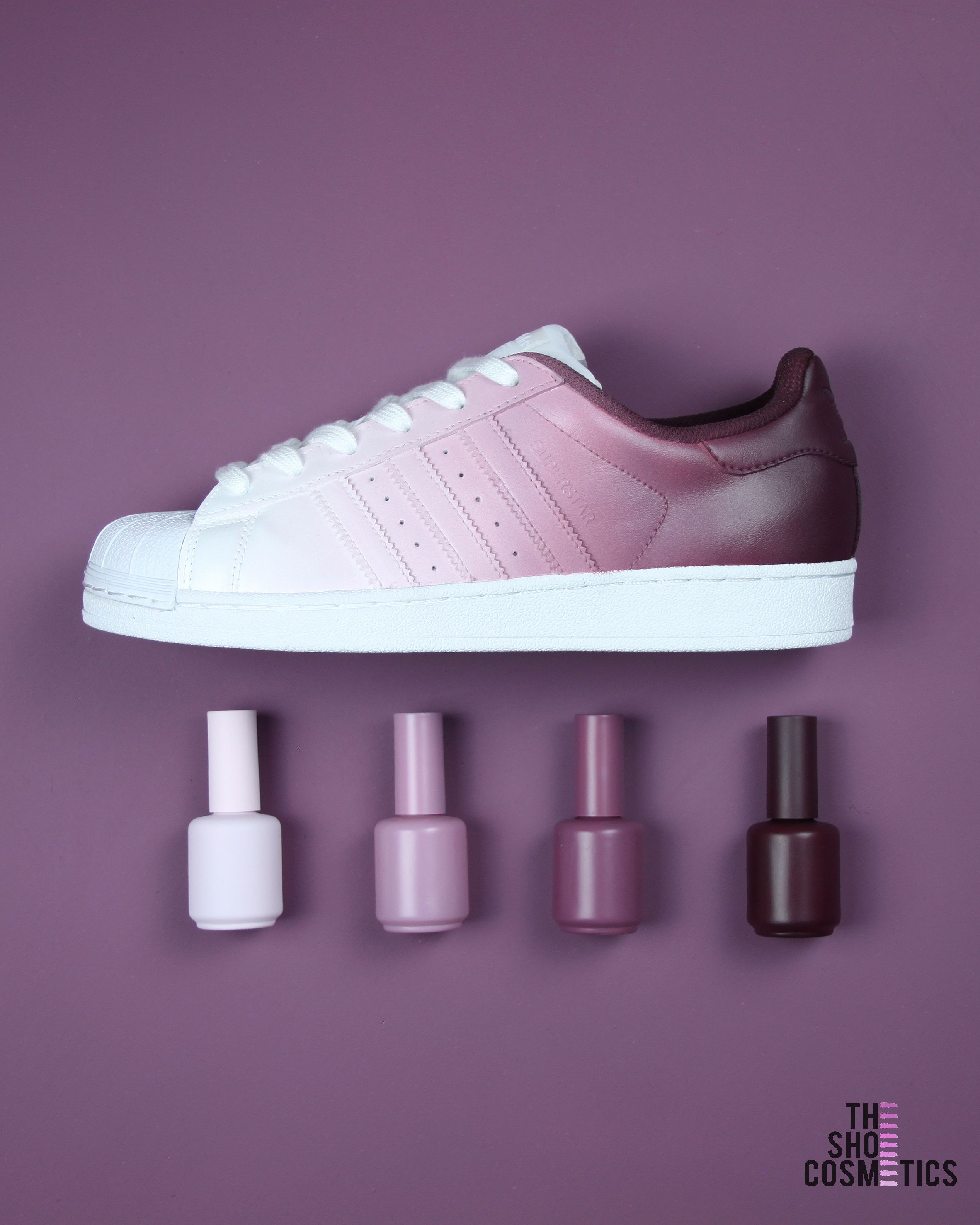 save off 58f49 4e7a7 Cute womens Custom Adidas sneakers. TheShoeCosmetics Burgundy Ombre Adidas  original superstars are a stylish,