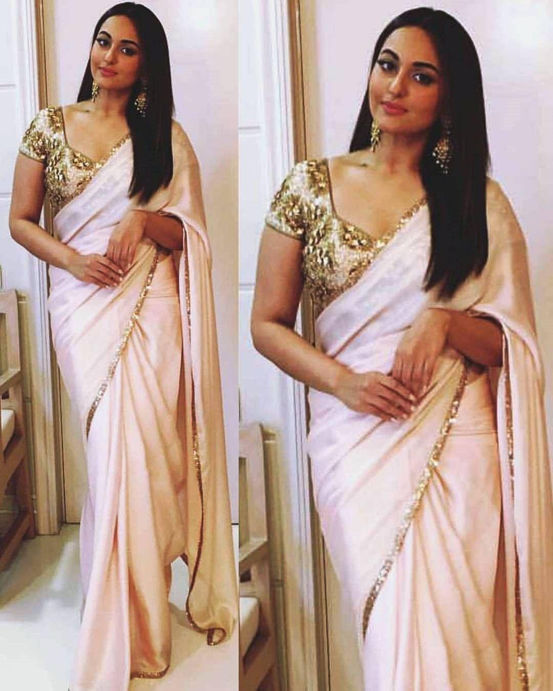 d4213ab0462ab4 Sonakshi Sinha In Cream Designer Saree