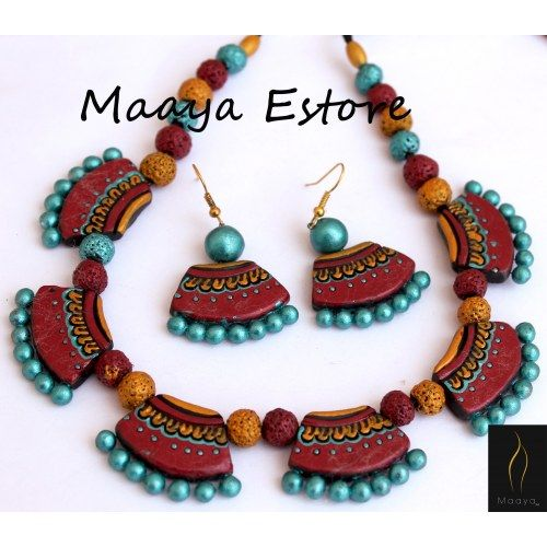 Lovely Terracotta Set With Images Terracotta Jewellery Designs Handmade Fashion Jewelry Terracotta Jewellery Making