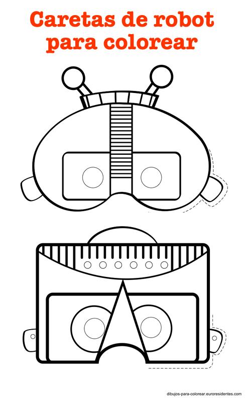 Divertidas caretas robot para imprimir   Pinterest   Robot, Masking ...