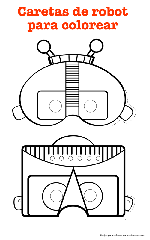 Divertidas caretas robot para imprimir | TEATRO - Mascaras 1 ...