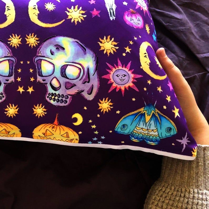 Masquerade Pillow/ Wiccan Decor/ Witchy Decor/ Witchy Pillow/ Pagan Gifts/ Moon Skull Pillow / Witchcraft/ Magick/ Pillow Cover and Insert