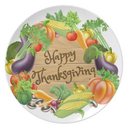 sc 1 st  Pinterest & Happy Thanksgiving Vegetable and Fruits Design Melamine Plate