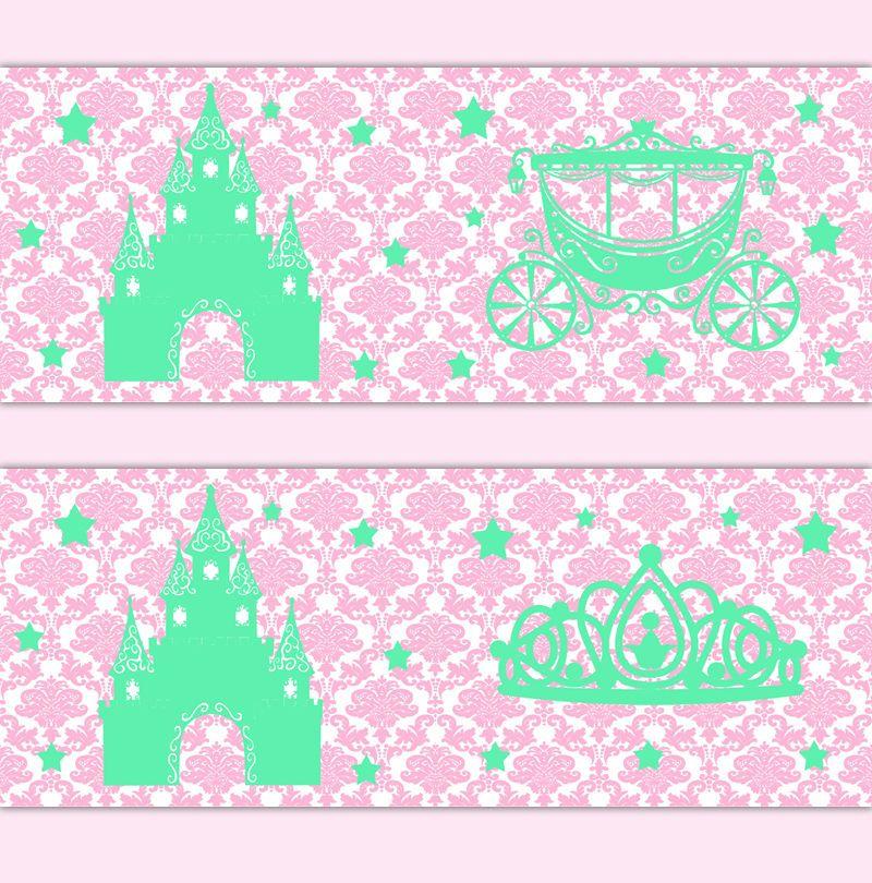 Princess Crown Nursery Decor Baby Girl Border Wall Art