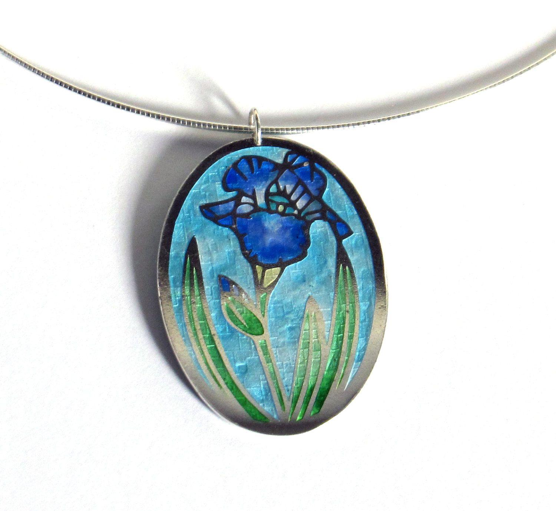 Blue Textured Iris Flower Enamel Pendant By Turritelladesigns