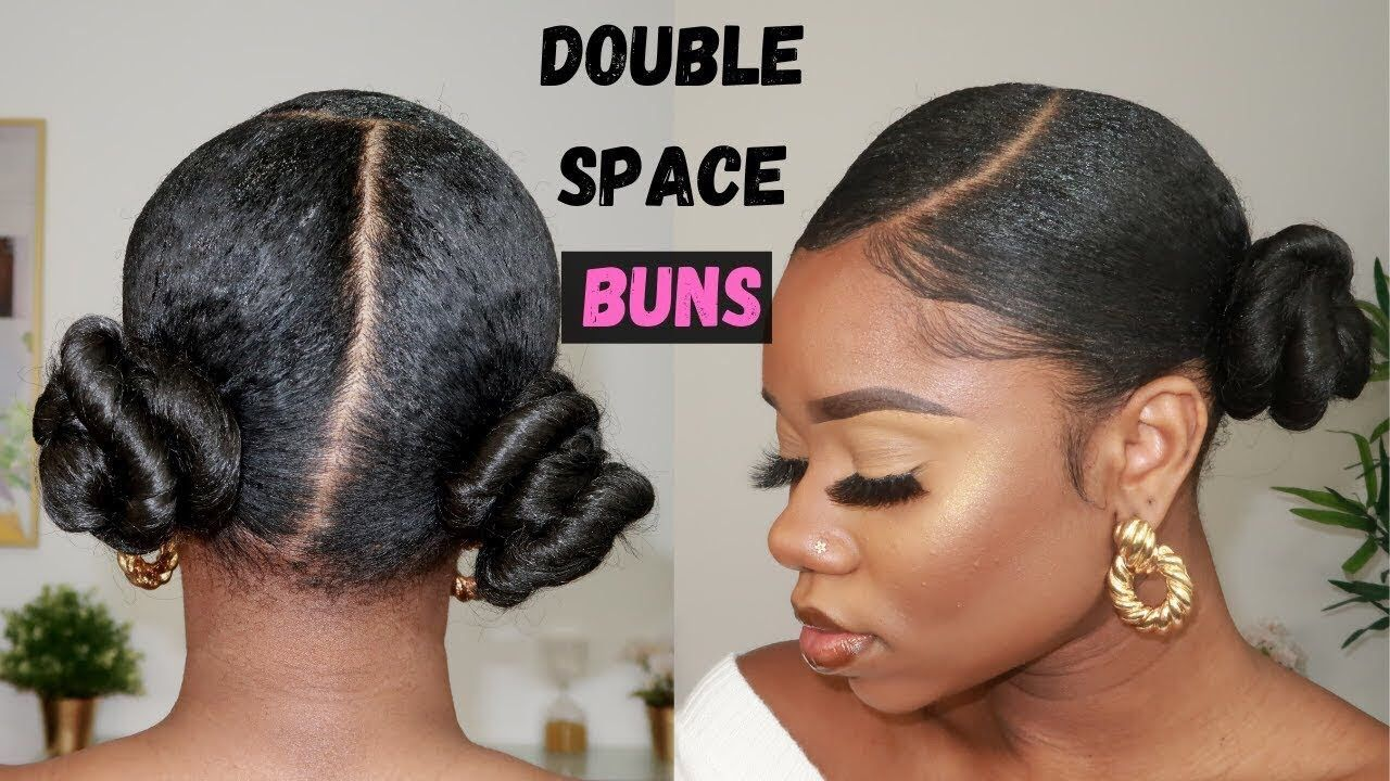 Hairstyle For Natural Hair Sleek Double Space Buns Https Blackhairinformation Co Natural Hair Bun Styles Bun Hairstyles For Long Hair Natural Hair Styles