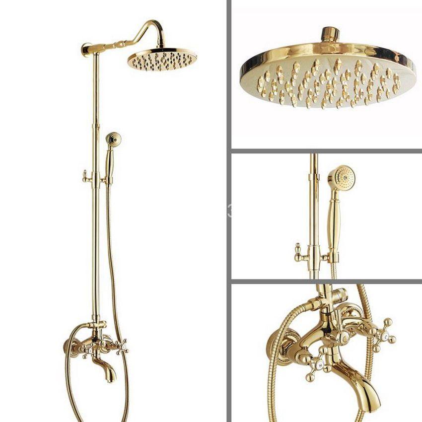 Luxury Golden Polished Brass Wall Mounted Bathroom Rain Shower ...