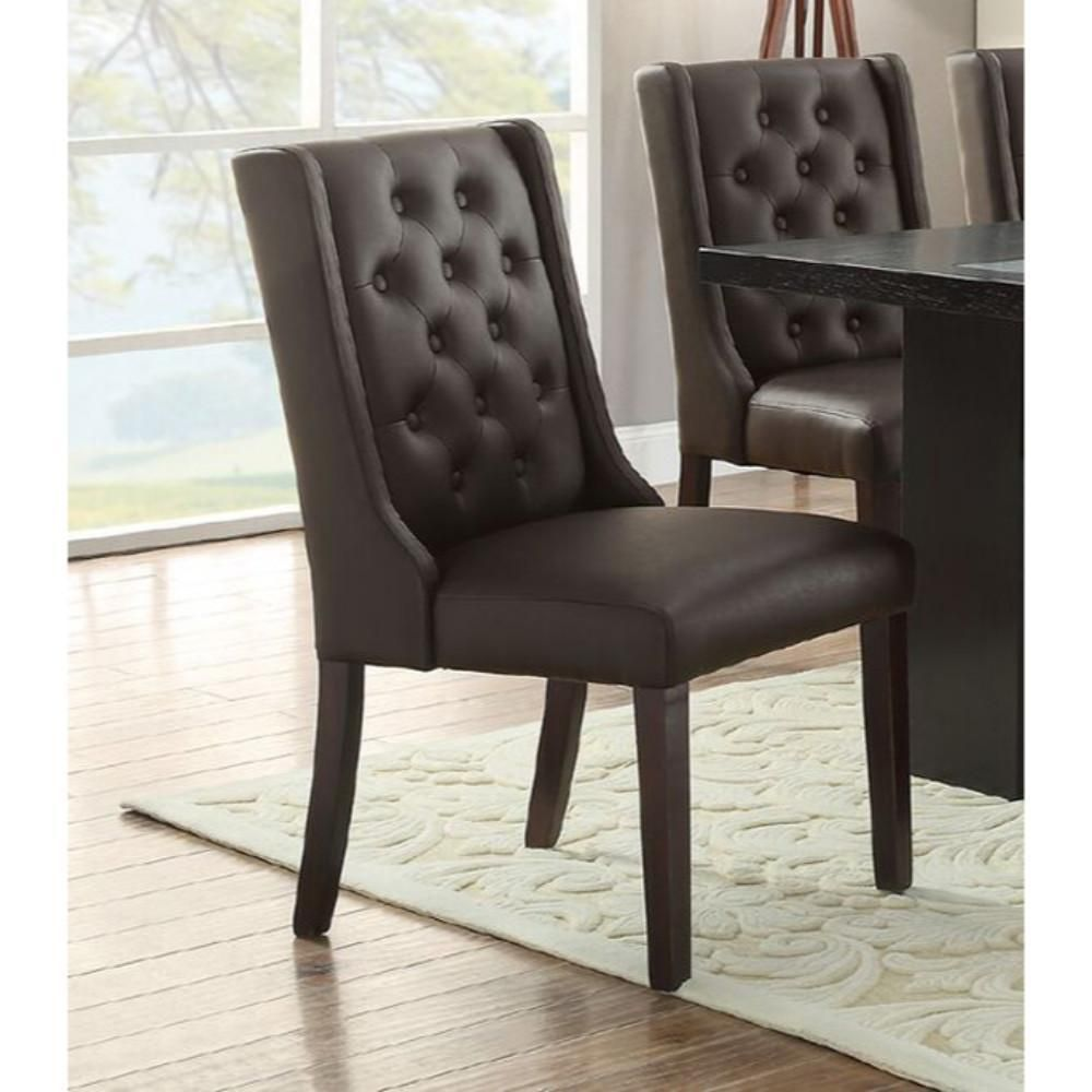 Button tufted royal dining chair set of 2 dark brown