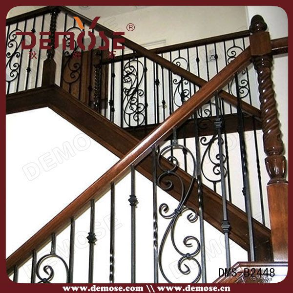 Iron spindles for interior stairs interior wrought iron for Interior iron railing designs