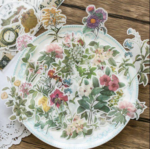 60pcs Label Diary Paper Stickers Scrapbooking Decoration Flower Plants Stickers
