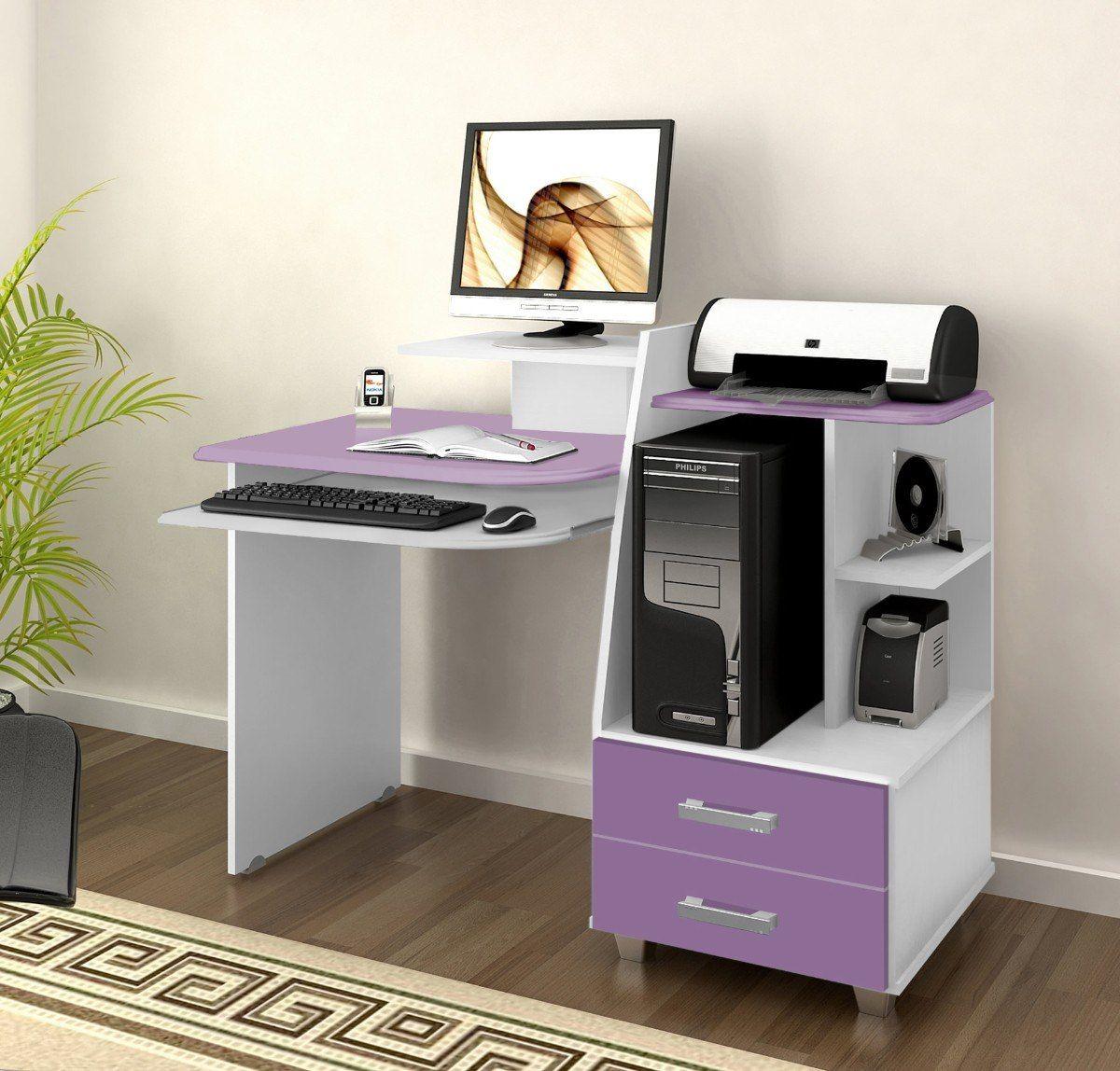 Mesa de computador alice com 02 gavetas p quarto juvenil for Muebles para computador