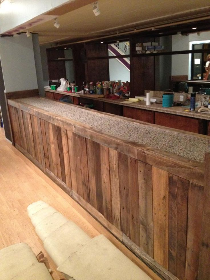 Making a bar front out of old pallets... This looks exactly like the ...
