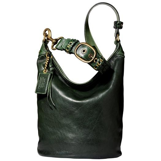 3fcc52ed3d7c Coach large leather bleecker duffle bag in dark green