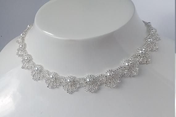 Hand Beaded Pearl Necklace Swan Perfect For Wedding Bridesmaid Mother Of Bride Simple Bridal Elegant White Statement Bridal Jewelry Glass Beads Fine Jewelry