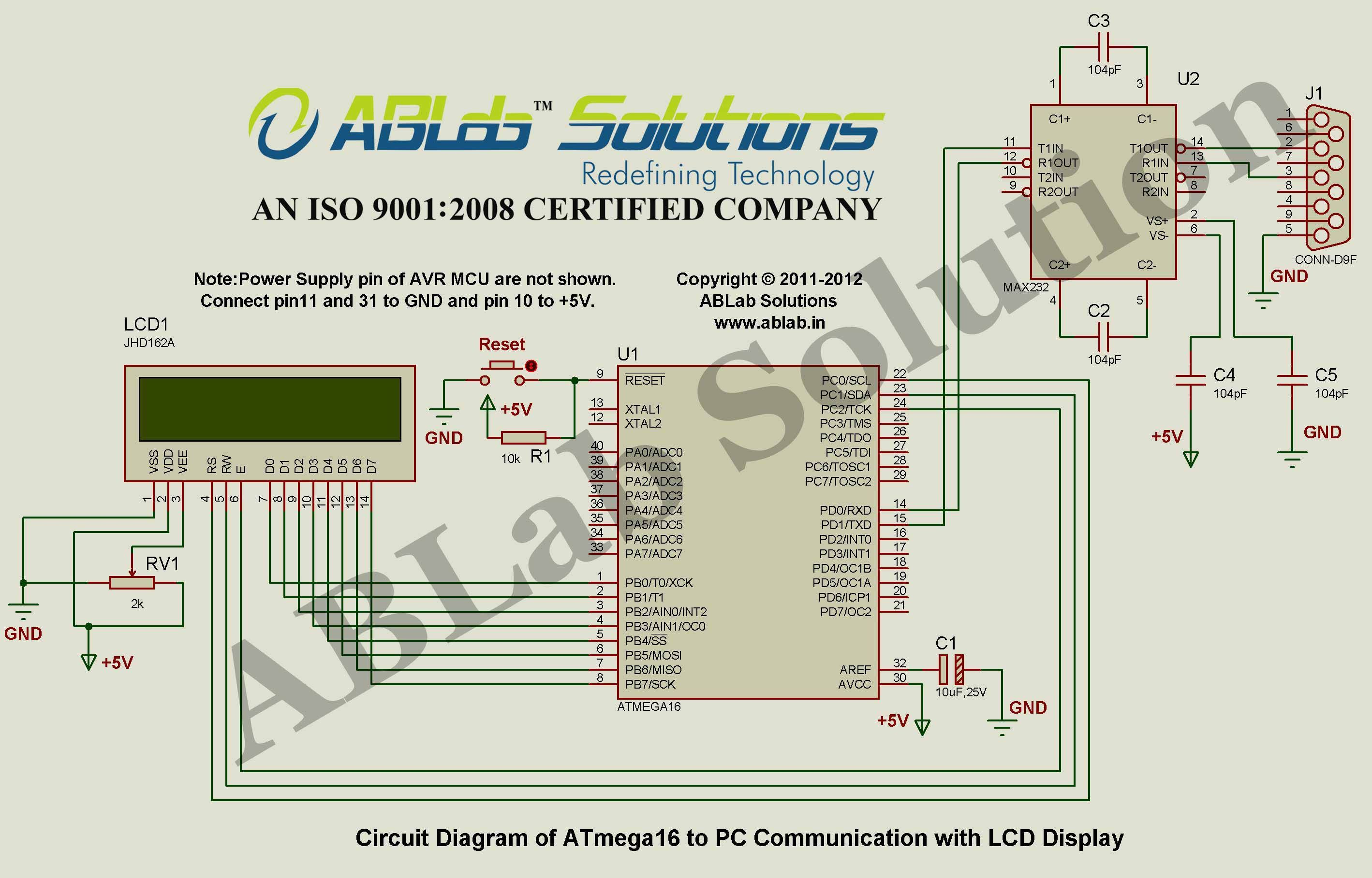 Avr Atmega16 Microcontroller To Pc Communication With Lcd Display Project Circuit Diagram Code Ablab Solutions