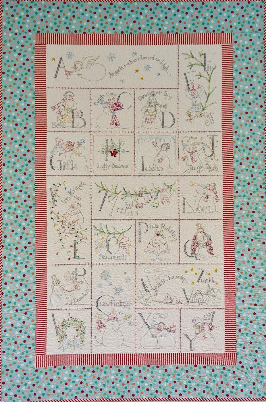 Stitched Snowman Quilt. Snowman PatternsChristmas PatternsSnowman QuiltEmbroidered  QuiltsHand ...