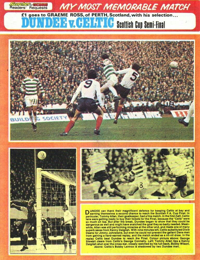 Celtic 0 Dundee 0 in April 1973 at Hampden Park. More action from the Scottish Cup Semi Final.