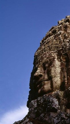 Framed Low angle view of a face carving, Angkor Wat, Cambodia Print