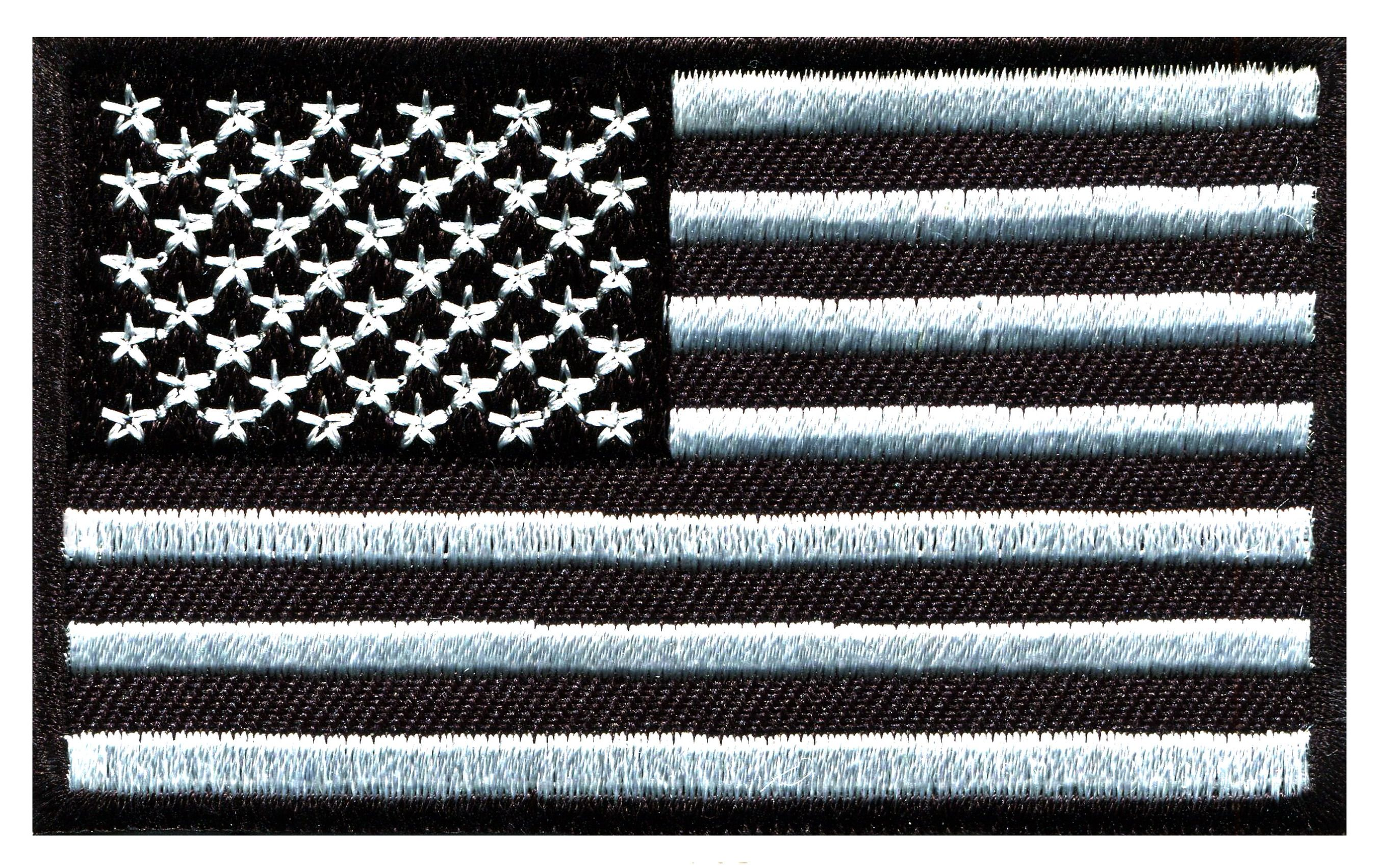 American Flag Usa United States Black Silver Embroidered Applique Iron On Patch S 1540 Ideal For Adorning Black American Flag American Flag Iron On Patches