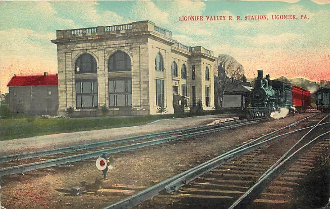 Ligonier Pa Train At Ligonier Valley Railroad Station Depot 1916 Postcard Railroad Station Train Station