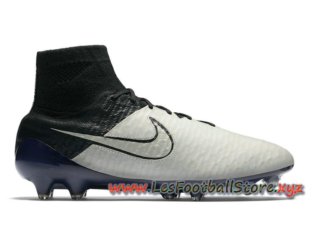 hot sales 2eaa4 5d695 Nike Magista Obra Leather FG Chaussure de football sol dur pour Homme  747496 001 Blanc Noir-