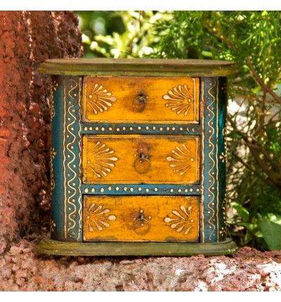 """A handcrafted wooden mini chest with the shape of cashew and vintage colorful look is exactly what you need to store goods as well as increasing the pomp and show of your interior."" http://pulpypapaya.com/cashew-multi-usage-three-drawer-miniature-chest.html"